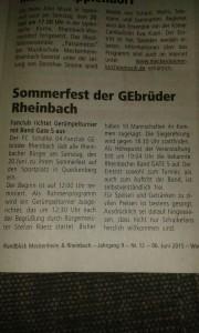 Ankündigung Auftritt Queckenberg